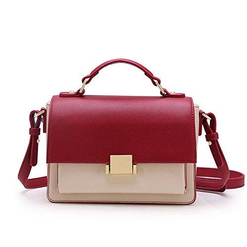 Sjmmbb Bag Cowhide Shoulder Vogue An Inclined Woman Bag Red Rose, Red Rose 20x14.5x8cm
