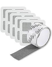 Window Screen Repair Mesh Tape, 5 * 200cm Waterproof Fiberglass Covering Mesh Tape with 5 Pieces of Gauze Mesh Patches for Doors Window Screen,Mosquito Net Repair (Black)