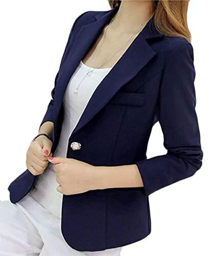 Manteau Femme Marineblau Chic Manteau Loisirs Button Unicolore Revers Manches De Moderne Blazer Automne Longues Affaires Costume Courte Style HqrawxTOHC
