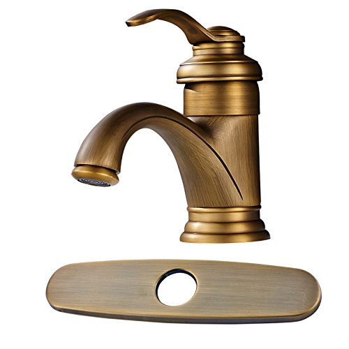 Votamuta Antique Brass Deck Mounted Bathroom Basin Sink Faucet Single Handle Hot Cold Water Lavatory Mixer Tap with Cover Plate ()