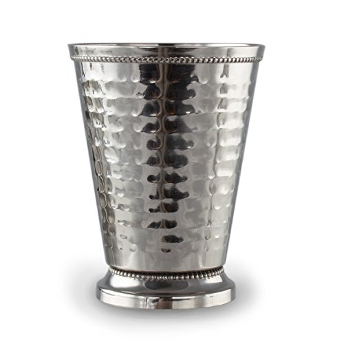 Cocktail Mint Julep Cup – 12 Oz Stainless Steel Mint Julep Glasses (Hammered) (4) by Imperial Home (Image #3)