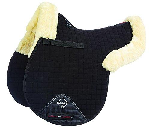 LeMieux Lambskin GP Jumping Numnah (Half Lined) Natural Wool Black Fabric, Large
