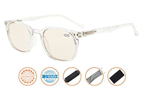 Reduce Eyestrain,Anti Blue Rays,UV Protection,Unisex Computer Reading Glasses(Clear,Amber Tinted Lenses) without - Blue Computer Glasses Lens