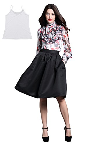 Floral Print Silk Blouse - DIFANER Women's Vintage Floral Print Silk Blouse Long Sleeve Lace Stand Collar Shirt OL Tops with Camisole Large