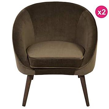 KosyForm - - Juego de 2 sillones de Terciopelo Color Caqui ...