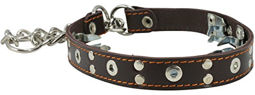 Leather Pinch Collar - Dogs My Love Training Genuine Leather Pinch Martingale Dog Collar Studded 4mm Link Brown 3 Sizes (15.5