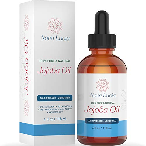 Jojoba Oil Cold Pressed Natural Unrefined Moisturizer Sun Spot Corrector For Face Acne Spot Treatment Stretch Mark Removal Back Acne Treatment Scar Remover Hair Growth Serum Beard Oil For Men 4 oz