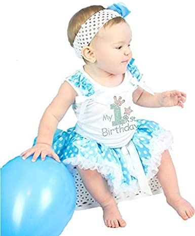 My 1st Birthday Dress White Cotton Shirt Blue Polka Dots Baby Skirt Outfit 3-12m Petitebella NS246