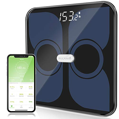 Bathroom Smart Scales Body Fat Weighing Analyzer, Digital Weight Scale, Body Composition Monitor for Body Weight, BMI, Body Fat, Water, Skeletal Muscle, Bone Mass, Calorie and Body Age (Black)