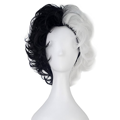 Miss U Hair Girl Women Synthetic Short Fluffy Black White Hair Cosplay Costume Wig (C360 Curly)