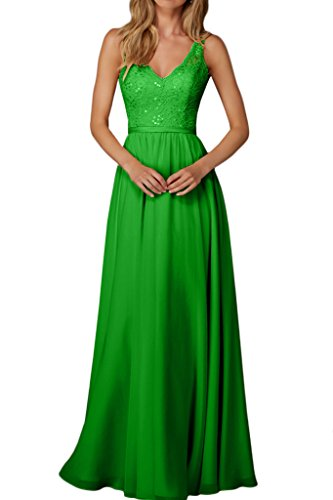 Dress Sequin Evening Double Long Green Lace Dress Chiffon V Prom Bridesmaid Neck Avril dzICqd