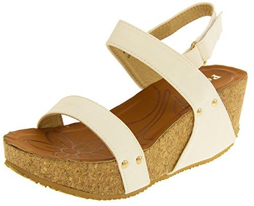 Poshh! Mujer Cuero Sintético Sandalias de Cuña Plataforma Blanco