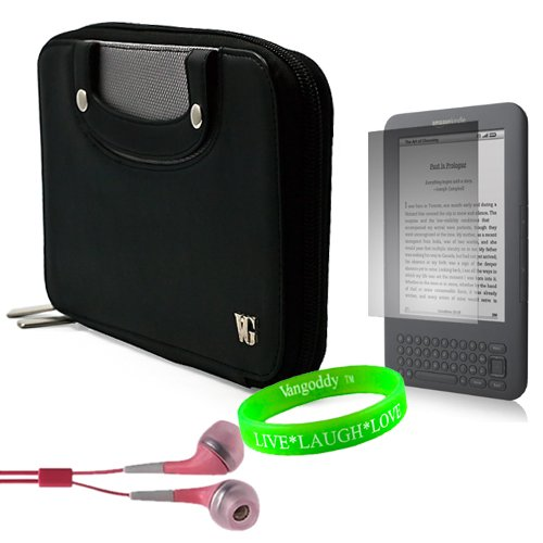 Melrose Case Pink Leather - Premium Executive Black Melrose Carrying Case Leather with Carry Handles for Amazon Kindle 3 (Wifi Only, Wifi + 3G) (Latest Generation) + Pink Earphones + Screen Protector + Live Laugh Love Vangoddy Wrist Band!!!