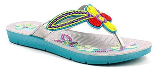 INBLU - Sandalias de vestir de piel sintética para mujer aguamarina 36