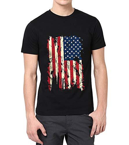 USA Flag Distressed Vintage Shirt for Men - Adult American Flag T-Shirt ()