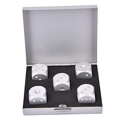 Price comparison product image Pawaca Portable Standard 16mm 5 in 1 Precision Aluminum Alloy Dice, Solid Polished Dotted Dice for Tables Board Game Drinking Game, Activity, Casino Theme, Party Favors