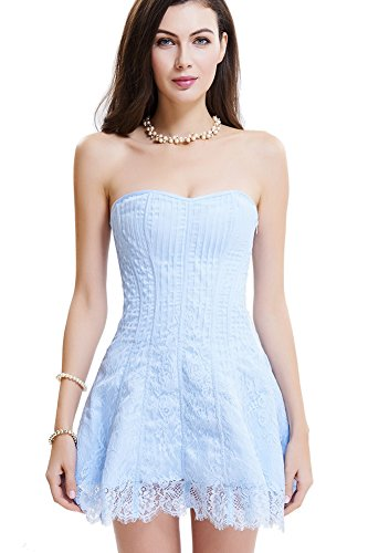 SZIVYSHI New Sexy Overbust Corset Top With Skirt,Light Blue,L(Waist:70cm)