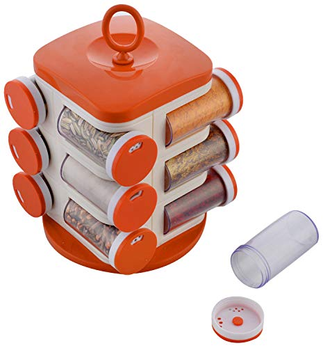 - WhopperOnline Rotating Spice Rack with 12 Spice Jars and Shaker lids, Revolving Seasoning Storage and Organizer, Spice Carousel Tower for Kitchen - Red