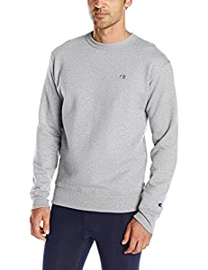 Champion Men's Powerblend Pullover Sweatshirt, Oxford Grey, Large