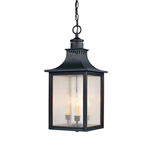 Savoy House Lighting 5-256-25 Monte Grande Collection 3-Light Outdoor Hanging Entry Lantern, Slate Finish with Pale Cream Seeded Glass