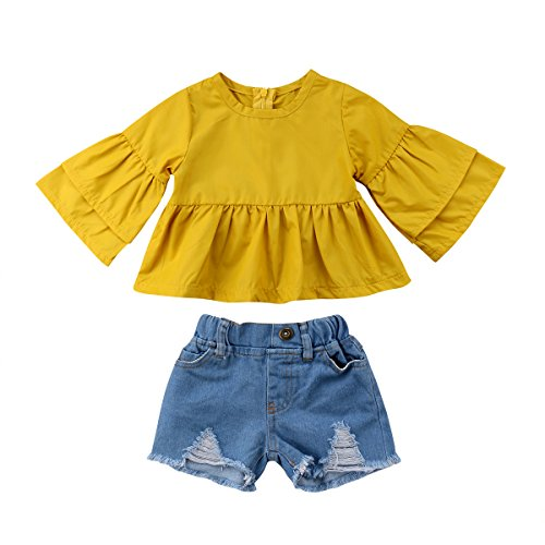 Baby Girl Denim Short Pants Set Clothes Long Sleeve Ruffle Tops 2 Pieces Outfits (Yellow, 100)