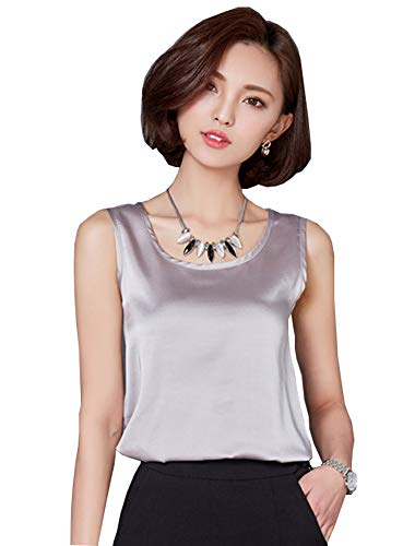 (ezShe Women's Round Neck Sleeveless Blouse Satin Shell Tops Gray XL)