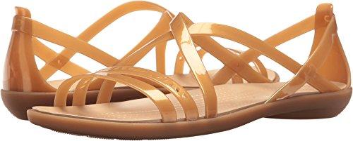 Crocs Women's Isabella Cut Strappy W Flat Sandal, Dark Gold/Gold, 8 M US by Crocs