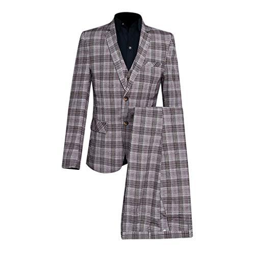 Men Suit Jacket Floral,Men's Slim 3-Piece Suit Plaid Blazer Host Show Jacket Coat & Pant & Waistcoat,Men's Big Tall Sport Coats Blazers Coffee ()