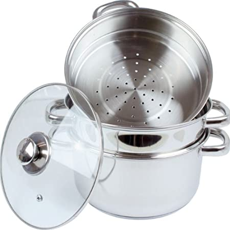 3PC 20CM INDUCTION STAINLESS STEEL STEAMER COOKER POT SET GLASS LIDS 3 TIER PAN