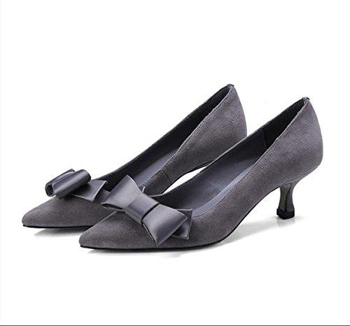 AJUNR Moda/elegante/Transpirable/Sandalias Luz pajarita solo zapatos lijado fino con cómodos Gris 5 cm a 38 en zapatos 37