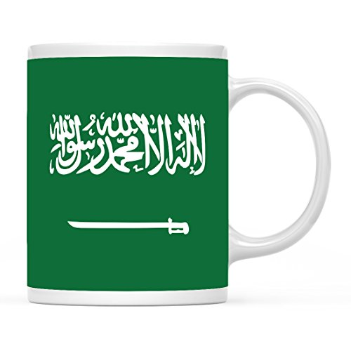Andaz Press 11oz. Country Flag Coffee Mug Gift, Saudi Arabia, 1-Pack, Olympics Party World Cup Soccer Fútbol Football Fan Gifts for Him or Her