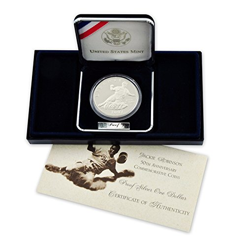 1997 S Jackie Robinson Commemorative Silver Dollar Proof US Mint ()