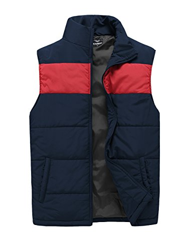 Waistcoat Colour (MADHERO Mens Outwear Lightweight Jacket Contrast Color Vest Stand Collar Waistcoat?Color Navy With Red Size 2XL)