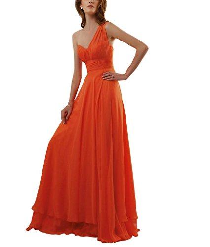 Oragnge Orange Abendkleid Spalte ein GEORGE Schultergurt BRIDE Mantel bodenlangen Chiffon 1zacx5Twq