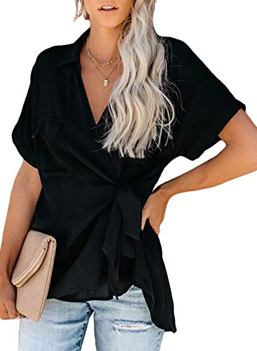 (HOTAPEI Women's Summer Casual Wrap V Neck Collared Waist Tie Basic Cuffed Sleeve Front Flap Pockets Tunic Blouses Fashion 2019 Tshirts Tops Black Large)