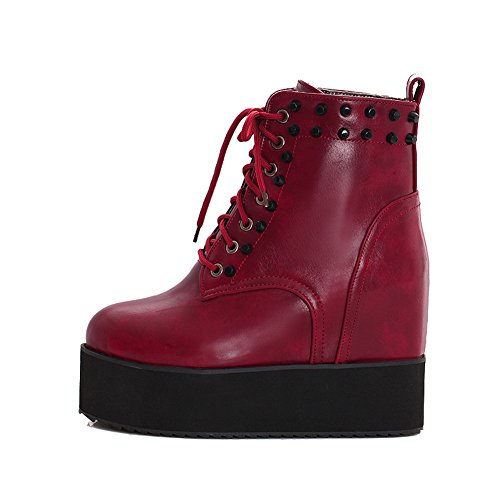 Heighten Platform Red Leather Imitated Lace Up Boots BalaMasa Ladies Rivet Inside w7x1qnqAER