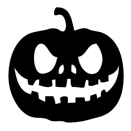 Halloween Pumpkin Decal, Pumpkin Face Sticker, Please Message Us For Custom Designs And More Colors (H 6 By L 7 Inches, Black) ()