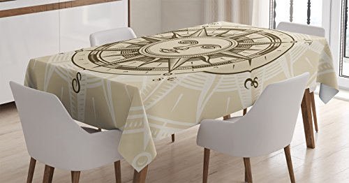 Ambesonne Compass Decor Tablecloth, Vintage Compass Rose with Sun Shape Human Face Historic Decorating Illustration, Rectangular Table Cover for Dining Room Kitchen, 52x70 Inches, Beige - Face Shape Illustration