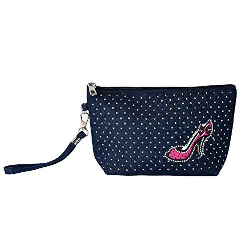 Blue Jean Birkin - Jean hand bag portable bag crystal enchased small bag high heel design bag blue popular bag simple money bag for woman