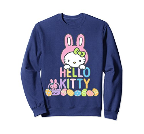Unisex Hello Kitty Easter Bunny Logo Sweatshirt XL: Navy (Adults Hello Kitty Clothes For)