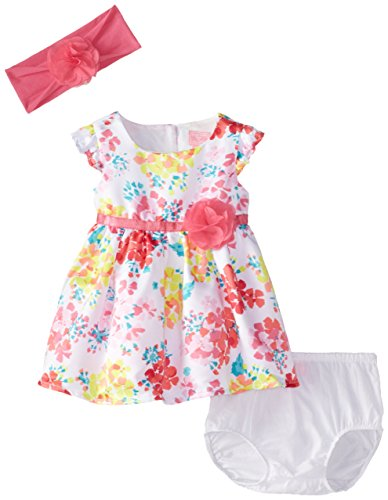 The Children's Place Baby-Girls Newborn Floral Dress and Headwrap Set, White, 9-12 Months