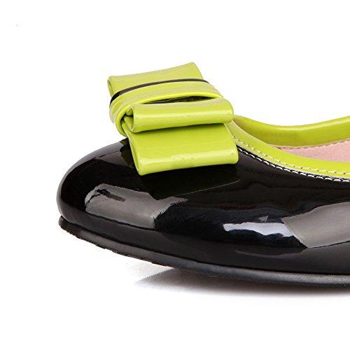 Amoonyfashion Womens Geassorteerde Kleur Lakleder Lage Hakken Ronde Gesloten Teen Pumps-schoenen Zwart