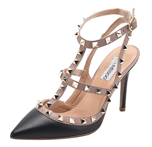 Shoes Classic Studs Strappy Stiletto Pumps Black Strap Rivets Women's Matte High T Gold Beige CAMSSOO Trim Heels Studded Sandals UqF578tw