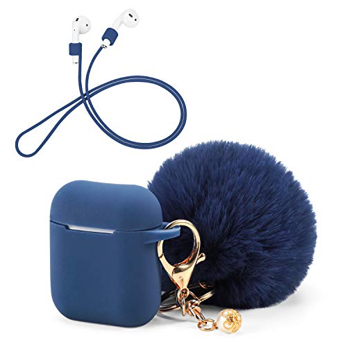 OOTSR Protective Case Cover with Cute Pompom Ball Keychain Compatible for Apple Airpods Charging Case, Full Protective…