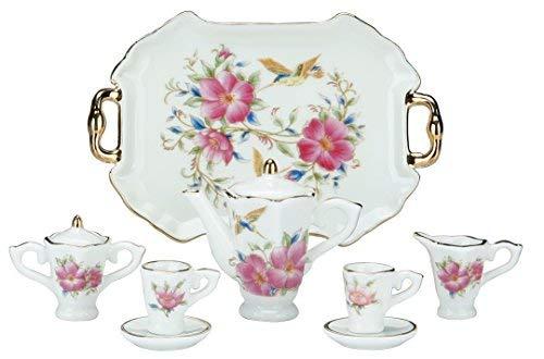 Miniature Collectible HUMMINGBIRD & FLOWERS Porcelain Tea Set: Teapot, Sugar Bowl, Creamer, 2 Teacups, Serving Platter