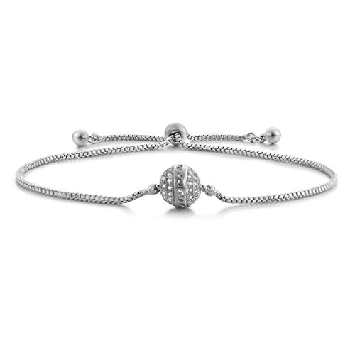 SHINCO Bella Lotus Starry Bead 18k White Gold Plated Cubic Zirconia Paved Adjustable Women Charm (Gold Plated Star Charms)