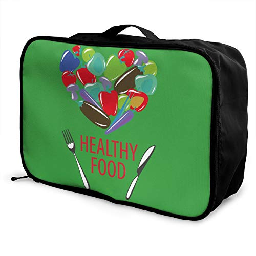 Travel Luggage Duffle Bag Lightweight Portable Handbag Healthy Food Large Capacity Waterproof Foldable Storage Tote