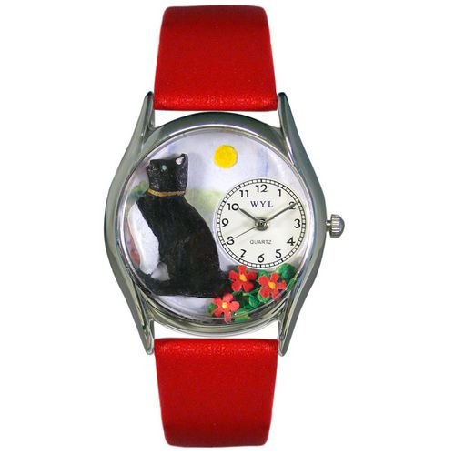 Whimsical  Women's  Basking Cat Red Leather Watch