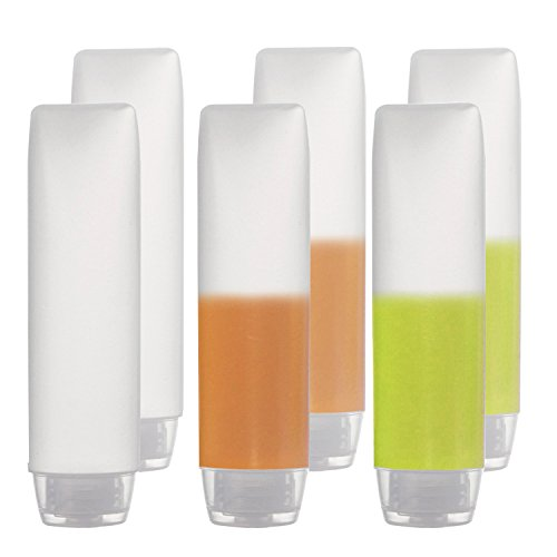 6-Pack Travel Size Plastic Squeeze Bottles for Liquids, 30ml/1oz TSA Approved Makeup Toiletry Cosmetic Containers