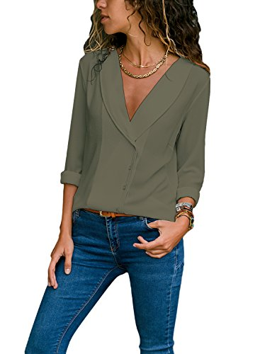 Women Deep V Neck Novelty Blouses Fashion Solid Long Sleeve Front Button Down Chiffon Shirts Green Tops Medium by LOSRLY
